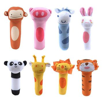 Cute Plush Animal Hand Bells Baby Toys Baby Rattle Ring Bell Toy Newborn Infant Early Educational Doll Gifts