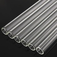 Glass Smoothie Straw, Alink Extra Wide Reusable Long Fat Boba Straws, 14mm X 9 in Set of 2 with Clening Brush