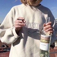 Fashion Embroidery Round Neck Top Sweater Hoodie