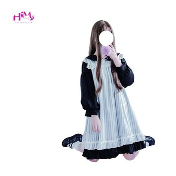 2018 Japanese Soft Sister Women Kawaii Dress Female Lolita Girls Cute Lace Ruffle Overall Dress Vintage Two Piece Set Maid Dress