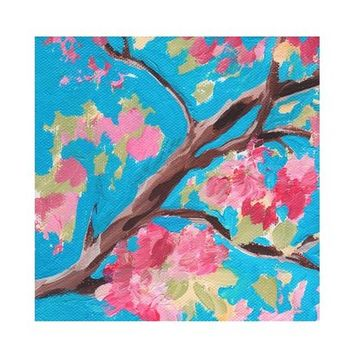Nature Painting, Flower Painting, Nature Print, Art, Tree Branch, Painting of Flowers, Floral Wall Art, Flower Decor, Nature Art, Blue, Pink