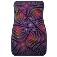 Colorful Fantasy Abstract Modern Purple Fractal Car Floor Mat