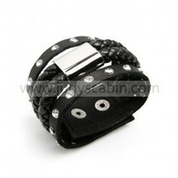 Black Braided & Studded Leather Bracelet
