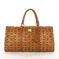 MCM Big Luggage Women Leather Travel Bag Tote Handbag B-LLBPFSH Brown