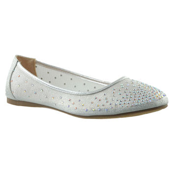 Womens Ballet Flats Rhinestone Round Toe Dress Flat Shoes Silver
