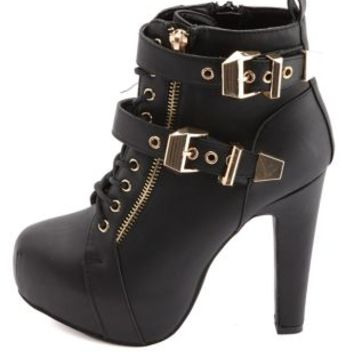 Lace-Up Belted Platform Booties by Charlotte Russe - Black