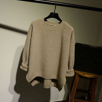 Womens Comfortable Solid Loose Pullover Sweater