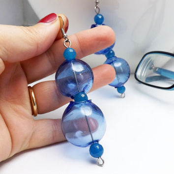 bubble earrings blue hollow glass - hollow glass beads