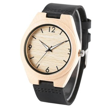 Bamboo 44mm Wooden Watch Black Leather W 154 b