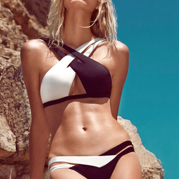 Black and White Bikini with Crisscross Strap Details