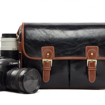 Black PU Leather DSLR Camera Bags  Camera Bag 1356