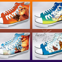 Custom Painted Hi Top Canvas Lion King Shoes