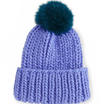 Rain Hat with Fur Pom Pom, Periwinkle/Teal, PERIWINKLE/TEAL - Eugenia Kim