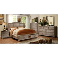 5 pc Belgrade I collection rustic natural tone finish wood Queen bed set with drawers in the footboard - Sears