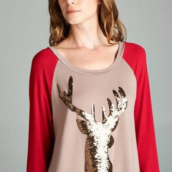 Reindeer Sparkly Patch Contrast Top