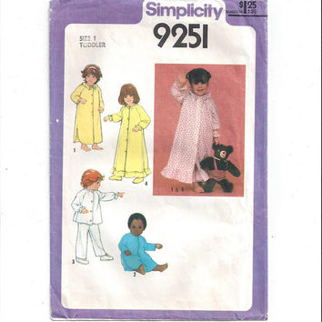 Simplicity 9251 Pattern for Toddlers' Nightgown, Pajamas, Long Robe, Size 1, From 1979, Front Button, Vintage Pattern, Home Sewing Pattern