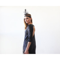 Sultry Black Sequins Mini Dress with open back 1132