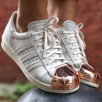 """Adidas"" Fashion Women Shell-toe Flats Sneakers Sport Shoes Beige golden top cap"
