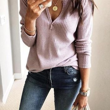 New Pink Cut Out V-neck Long Sleeve Casual T-Shirt