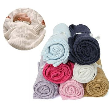 2016 Soft Blanket & Swaddling For  Baby 100 x 80cm Pure Color Soft Cotton Crochet Newborn Babies Blanket for Summer