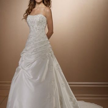 Elegant Strapless Embroidery Wedding Dresses 2014 Bridal Gown In Stock On sale = 1932240772
