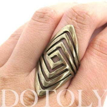 Unique Geometric Diamond Shaped Cut Out Spoon Ring | Sizes 5 to 7 Available