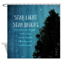 Fabric Shower Curtain - Star Light - PNW, Starry Sky, Photography, with or without Typography