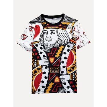 Men 3D Playing Cards K Graphic Tee