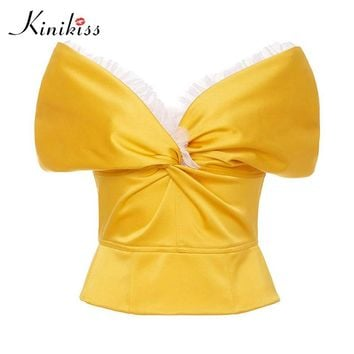 Female blouse apparel yellow mesh patchwork v neck pleated zippers spring women tops satin fashion blouse