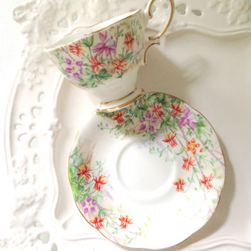 English Bone China Royal Albert Footed Columbine Pattern Tea Cup and Saucer Tea Party Malvern Shape - Ca. 1940's
