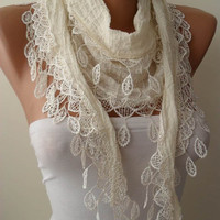 Mother's Day - Lightweight Cotton Scarf in Creamy White with Creamy Trim Edge