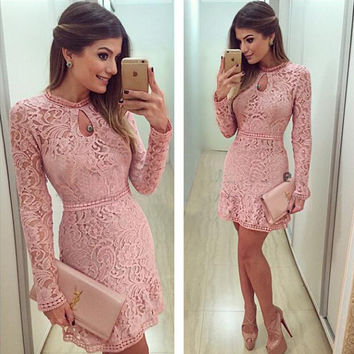 Lace Keyhole Long Sleeve A-Line Dress