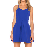 keepsake Twisted Fiction Mini Dress in Cobalt
