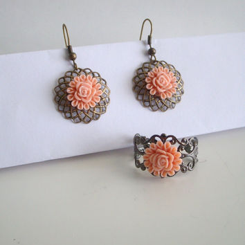 Set of Flower earrings and ring by StrictlyCute on Etsy