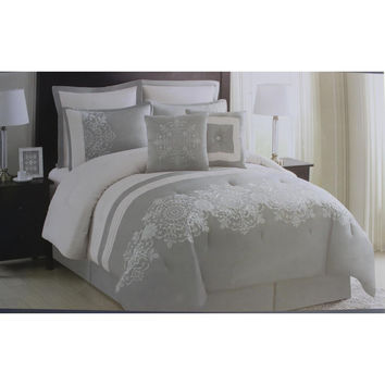 Essential Home Circle Scroll 8PC Embroidered Comforter Set