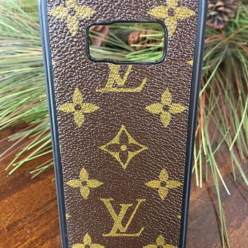 Handcrafted Samsung S8 case fashioned with authentic upcycled and repurposed Louis Vuitton monogram canvas