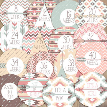 16 Aztec Tribal Pink Blue Mint Brown Arrow Teepee Ikat Chevron Mother to Be New Mom Pregnancy Weekly Milestone Stickers