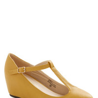 ModCloth Vintage Inspired Haute Harmony Wedge in Mustard