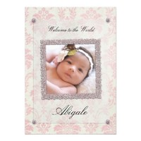 Baby Girl Pink Damask Silver Frame Announcement from Zazzle.com
