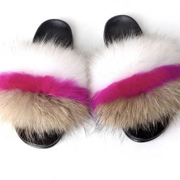 Keyes Fox fur slides