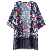 Women's Fashion Cotton Floral Tassels Cover Up [6413901377]