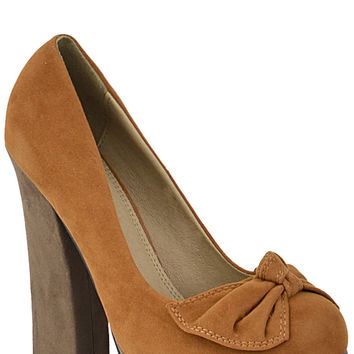 Faux Suede Court Shoe With Bow