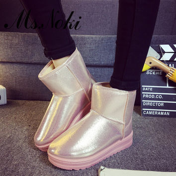 winter waterproof snow boots women platform warm plush ankle boots pu leather flat heel girls cotton school shoes
