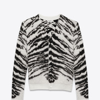 V-Neck Cardigan in Ivory and Black Tiger Woven Mohair and Wool Jacquard