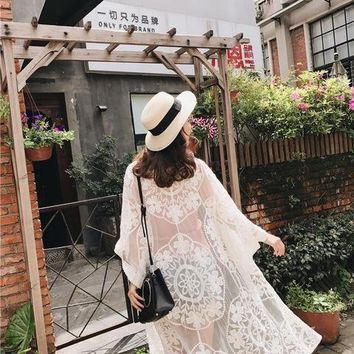 Cover ups Bikini Women Long Beach Cover Up 2018 New Embroidery Pareo Flower Pattern Lace  Female Sarong Swimwear Floral Swimsuit KO_13_1