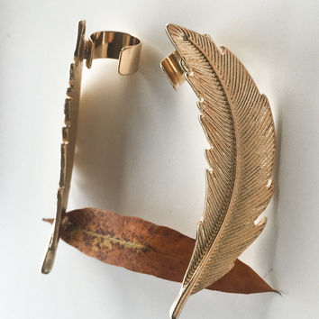 Venetian Love Gold Curved Feather Cuff Earrings