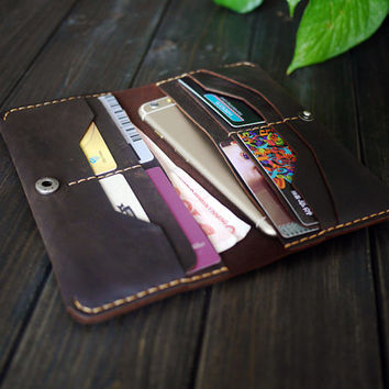 Leather iPhone6/5c/5s/ Wallet Case / Hand-stiched Leather Bifold Wallet / Women's Purse Clutch / Men's  Leather Wallet/Personalized Wallet