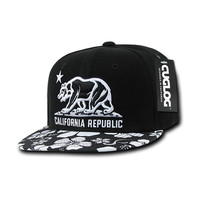 California Republic Black Floral Snapback by Cuglog
