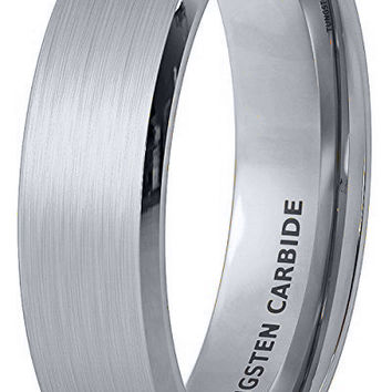 6mm Matte Finish Tungsten Carbide Ring Comfort Fit Wedding Band