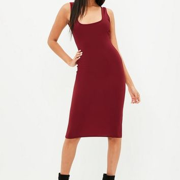 Missguided - Burgundy Scoop Back Midi Dress